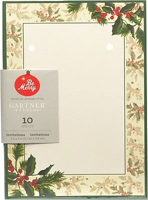 Gartner Studios Painterly Holly Invitations 5 x 7 10 Pack 64725