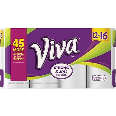 VIVA Choose-A-Sheet* Paper Towels, White, Big Roll, 12 Rolls