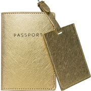 Eccolo Gold Print Travel Gift Set with Passport Case and Luggage Tag