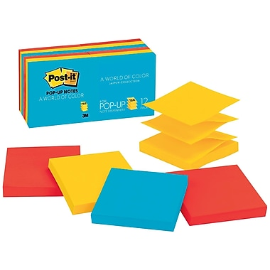 Post-it Pop-up Notes, 3in. x 3in., Jaipur Collection, 12 Pads/Pack (R330-12AU)