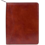 Scully® Genuine Italian Leather Zip Letter Size Padfolio, Cognac Brown,