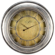 La Crosse Clock 404-2661 24 Inch Round Silver Weathered Analog Wall Clock with Cut-out Numerals