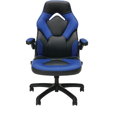 essentials by ofm ess 3085 blu essentials by ofm racing style leather gaming chair black blue. Black Bedroom Furniture Sets. Home Design Ideas