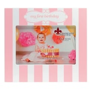 4x6 My First Birthday Pink and White