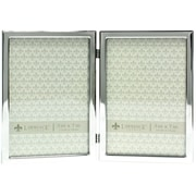 5x7 Hinged Double Silver Standard Metal Picture Frame