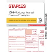 Staples 2016 Tax Forms, 1098 Mortgage Interest & Envelopes, 12-Pack