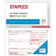 Staples 2016 Tax Forms, W-2 Continuous, 24-Pack