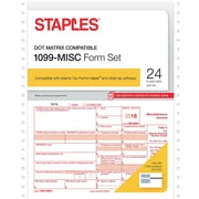Staples 2016 Tax Forms, 1099-Misc Continuous, 24-Pack