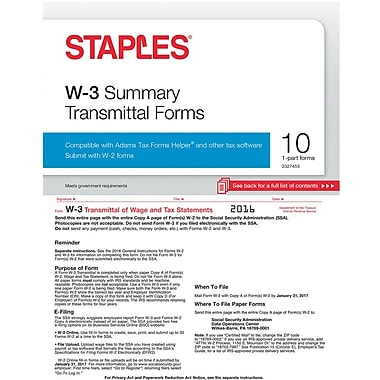 Staples 2016 Tax Forms, W-3 Summary Form, 10-Pack | Staples®