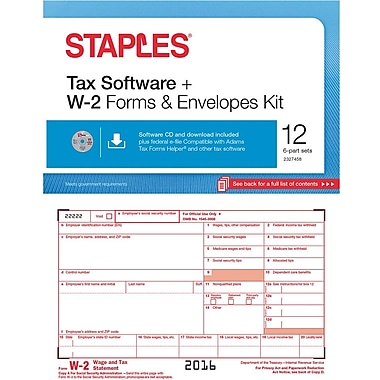 Staples 2016 Tax Forms, W-2 Inkjet/Laser with Software ...