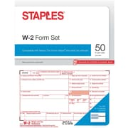 Staples 2016 Tax Forms, W-2 Inkjet/Laser, 50-Pack