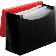 Smead Expanding File, 12 Pockets, Elastic Closure, Letter Size, Wave Pattern Red/Black (70866)