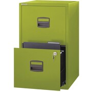 Bisley Two Drawer Steel Home or Office Filing Cabinet, Green, Letter/A4 (FILE2-GR)