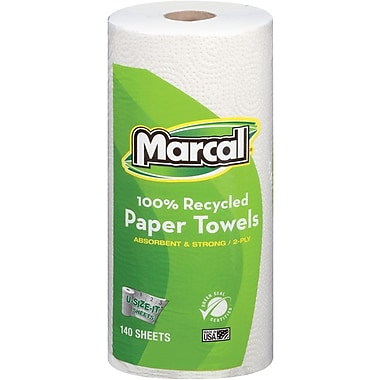 Marcal 100% Recycled Perforated U-Size-It Giant Roll Towel, 2-Ply, 140 Sheets/Roll, 12 Rolls/Case (6183)