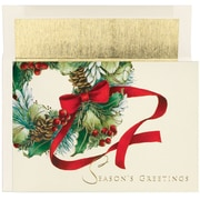 "Great Papers® Ribbon Wreath, Holiday Card, 5.625"" x 7.875"", 16 Pack"