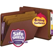 """Smead® End Tab Psbd Classification Folder SafeSHIELD® Fasteners, 3 Dividers, 3"""" Expansion, Letter Size, 10/Box"""
