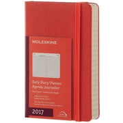 "2017 Moleskine® Daily Planner, 12 Month, 3.5"" x 5.5"", Coral Orange Hard Cover, Pocket (894004)"