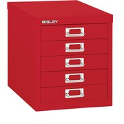 Bisley Five Drawer Steel Multidrawer, Red, Letter/A4 (MD5-RD)