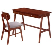 Techni Mobili Modern Desk with storage and Chair Set. Colors: Mahogany,Gray (RTA-3602ST-MAH)