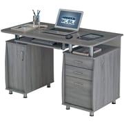 Techni Mobili Complete Workstation Computer Desk with Storage. Color: Grey
