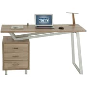 Techni Mobili Modern Desk with storage and Chair Set. Colors: Mahogany,Gray (RTA-2333-SND)