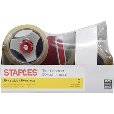 Staples® Clear Box Sealing Tape, 2 Rolls Plus Dispenser, 72 mm x 50 m, 2.0-mil