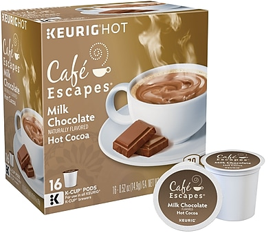 Cafe Escapes Milk Chocolate Hot Cocoa, Keurig K-Cup Pods, 16 Count 853440