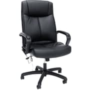 OFM Essentials by OFM Leather Vibrating Massage High-Back Executive Chair, Black, Fixed Arms (ESS-6015M)
