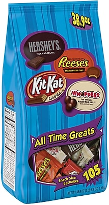 HERSHEY'S All Time Greats Snack Size Assortment, 38.9 oz, 105 Pieces 184446