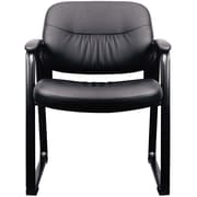 OFM Essentials by OFM Leather Executive Sled Base Side Chair with Padded Arms Black ESS-9015