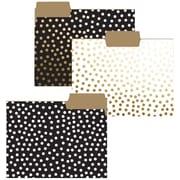 Graphique de France Gold Foil Dot Collection Fashion Top Tab File Folders, Letter Size, 3 Tab, 9/Pack
