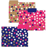 Graphique de France Navy Dot Collection Fashion Top Tab File Folders, Letter Size, 3 Tab, 9/Pack