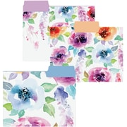 Graphique de France Watercolor Flowers Collection Fashion Top Tab File Folders, Letter Size, 3 Tab, 9/Pack