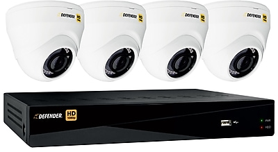 Defender HD 1080p 8 Channel 1TB DVR Security System and 4 Dome Cameras with Web and Mobile Viewing
