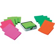 """Post-it® Super Sticky Notes, 3"""" x 3"""", Miami Collection, 14 Pads/Pack, plus Edge Note Dispenser"""