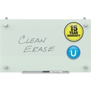 "Quartet Infinity™ Magnetic Glass Dry-Erase Cubicle Board, 24"" x 14"", White Surface, Frameless"