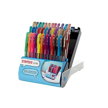 Staples® Gel Pens, Assorted Point Sizes and Ink Colors, 36/Pack