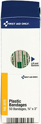 First Aid Only 3 4 x 3 Bandages Latex Free 50 Box FAE 3070
