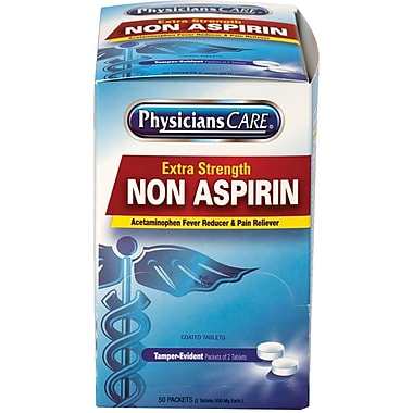 PhysiciansCare® Extra-Strength Non-Aspirin Tablets, 50 Packets of Two Tablets (90016)