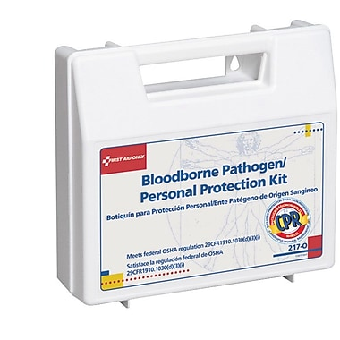 First Aid Only® Bloodborne Pathogen (BBP) & Personal Protection and Spill Clean Up Kit with CPR Micro shield, Plastic Case