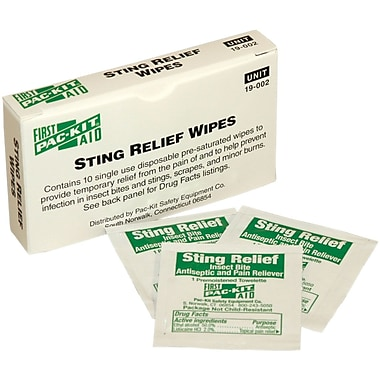 First Aid Only™ Insect Sting Relief Pads, 10/box
