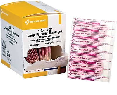 First Aid Only Fingertip Bandage Large Heavy Woven 25 Box G163