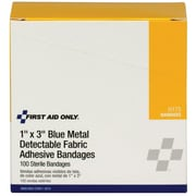 "First Aid Only® Blue Metal Detectable 1""x3"" Fabric Bandages, 100/Box (H175)"