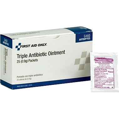 First Aid Only® G460 Triple Antibiotic Ointment, 0.5 g, Bacitracin Zinc (H305)