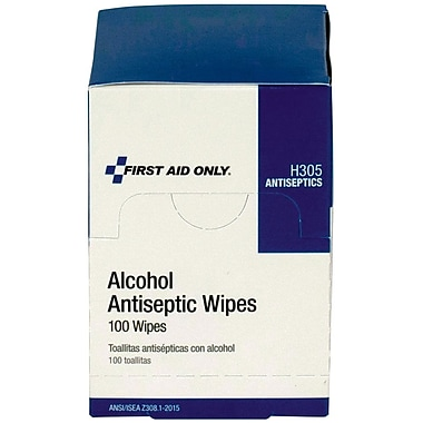 First Aid Only® Alcohol Wipes 70% Isopropyl, 100 Per Box (H305)