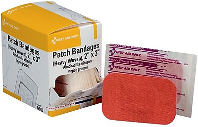 First Aid Only 2 x3 Heavy Woven Fabric Patch Bandages 25 Box G160