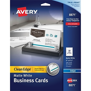 Avery Clean Edge 2-Side Printable Inkjet Business Cards, White, 2