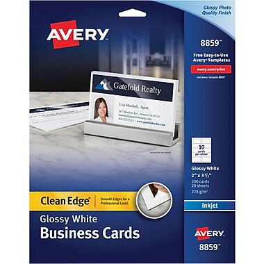 Avery® Clean Edge Inkjet Two Side Printable Business Cards, White, Glossy Finish, 200/Pack