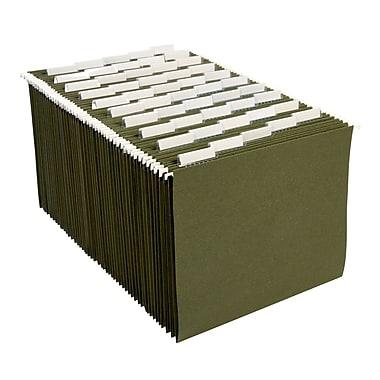 Staples® Hanging File Folders, 5-Tab, Letter, Standard Green, 50/Box (266262)