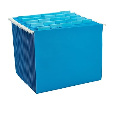Staples® Colored Hanging File Folders, 5-Tab, Letter, Blue, 25/Box (163501)